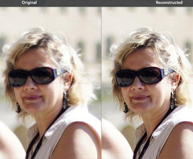 Ejemplo de una foto antes y después de aplicar Back In Focus