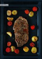 Entrecot a la plancha con zaatar, patatas y tomatitos. Receta