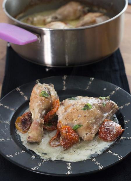 Receta de pollo a la crema con tomates secos