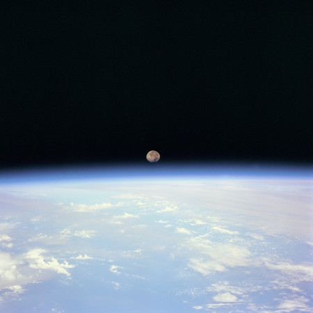 Moon Set Over The Earth Limb Taken From Space Shuttle Discovery During Sts 70 Mission