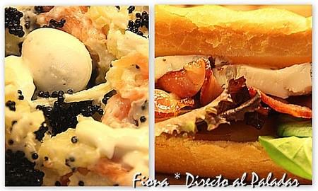 Comida para llevar. Ensalada de patata y salmón con huevo de codorniz, y brioche de bacon con gorgonzola