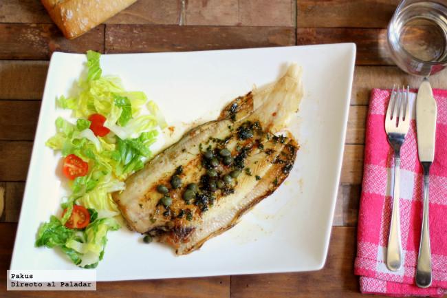 Lenguado a la meunière con alcaparras, receta francesa de pescado