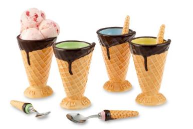 Copas de helado que se asemejan a cucuruchos