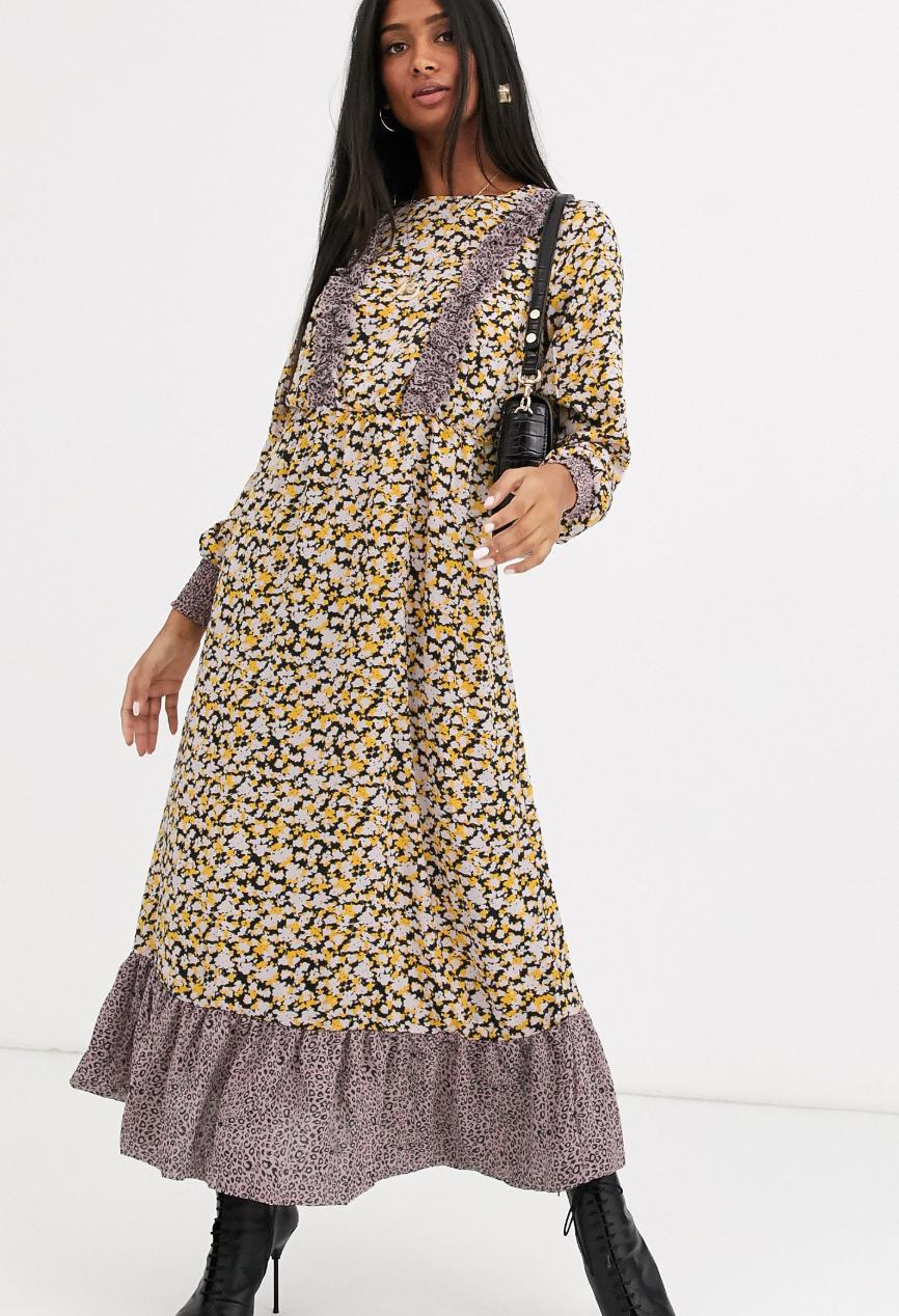 Vestido largo con estampado floral variado de Vila