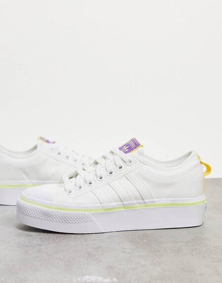 Zapatillas Con Plataforma En Blanco Nizza De Adidas Originals