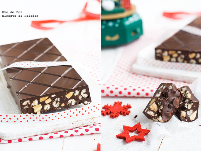 Cómo hacer turrón de chocolate crujiente. Receta de Navidad