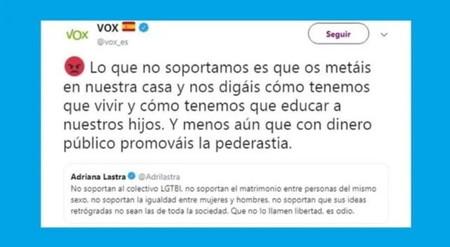 El polémico mensaje de Vox que provocó la suspensión de su cuenta en Twitter