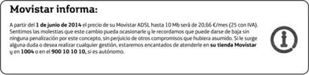 Movistar redondeará al alza el precio de su ADSL a partir de junio