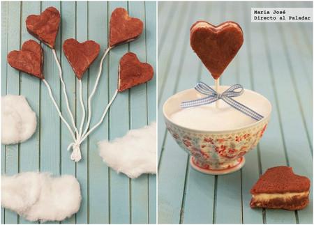 Corazones de queso y brownie rojo. Receta para San Valentín