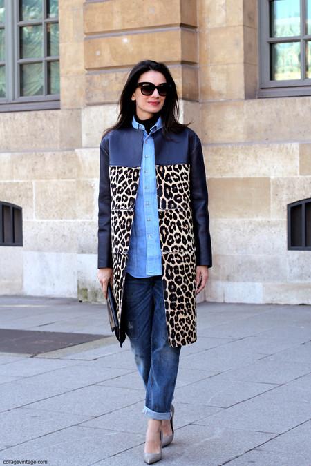 Double Denim Leopard Coat Paris Fashion Week Street Style