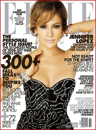 Jennifer Lopez posa con sus diseñadores favoritos en el número de Octubre de Elle Usa