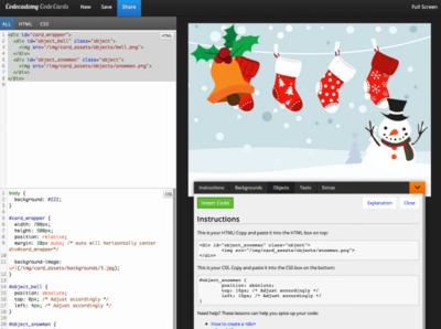 Haz tú mismo tus postales navideñas usando HTML y CSS de la mano de Code Cards de Codeacademy