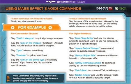 Comandos de voz Kinect Mass Effect 3 00