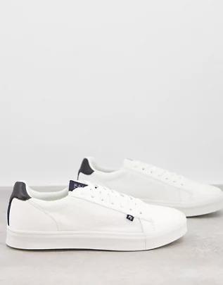 Zapatillas de deporte blancas con detalles negros de lona de River Island