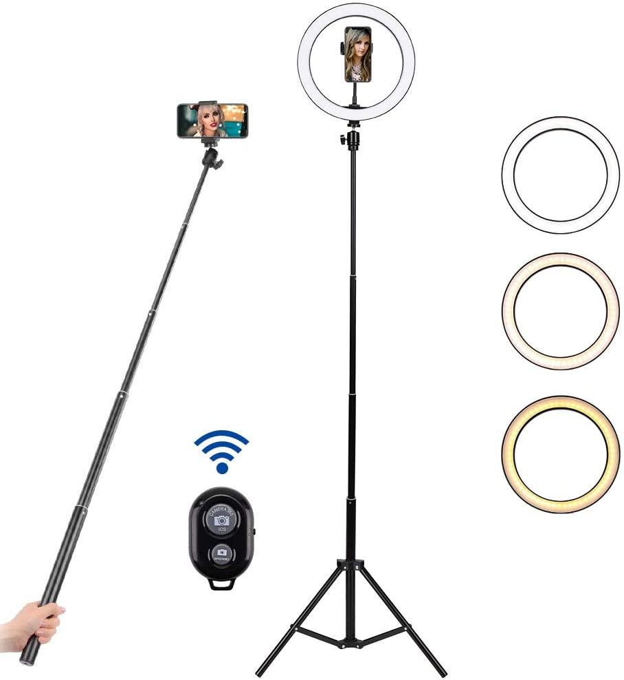 "BLOOMWIN Anillo de Luz LED Regulable 10"" para Fotografía Aro de Luz con Soporte Trípode Palo Selfie Control Remoto Bluetooth USB para Móvil Youtube Disparo Selfie Video Maquillaje Transmisión en Vivo"