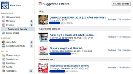 "Facebook introduce los ""Eventos Sugeridos"""