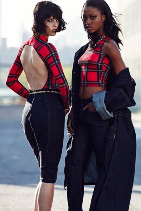 Colección Navidad 2013 Rihanna para River Island tendencia tartán body y crop top