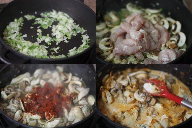 Noodles y pollo al pimentón. Pasos