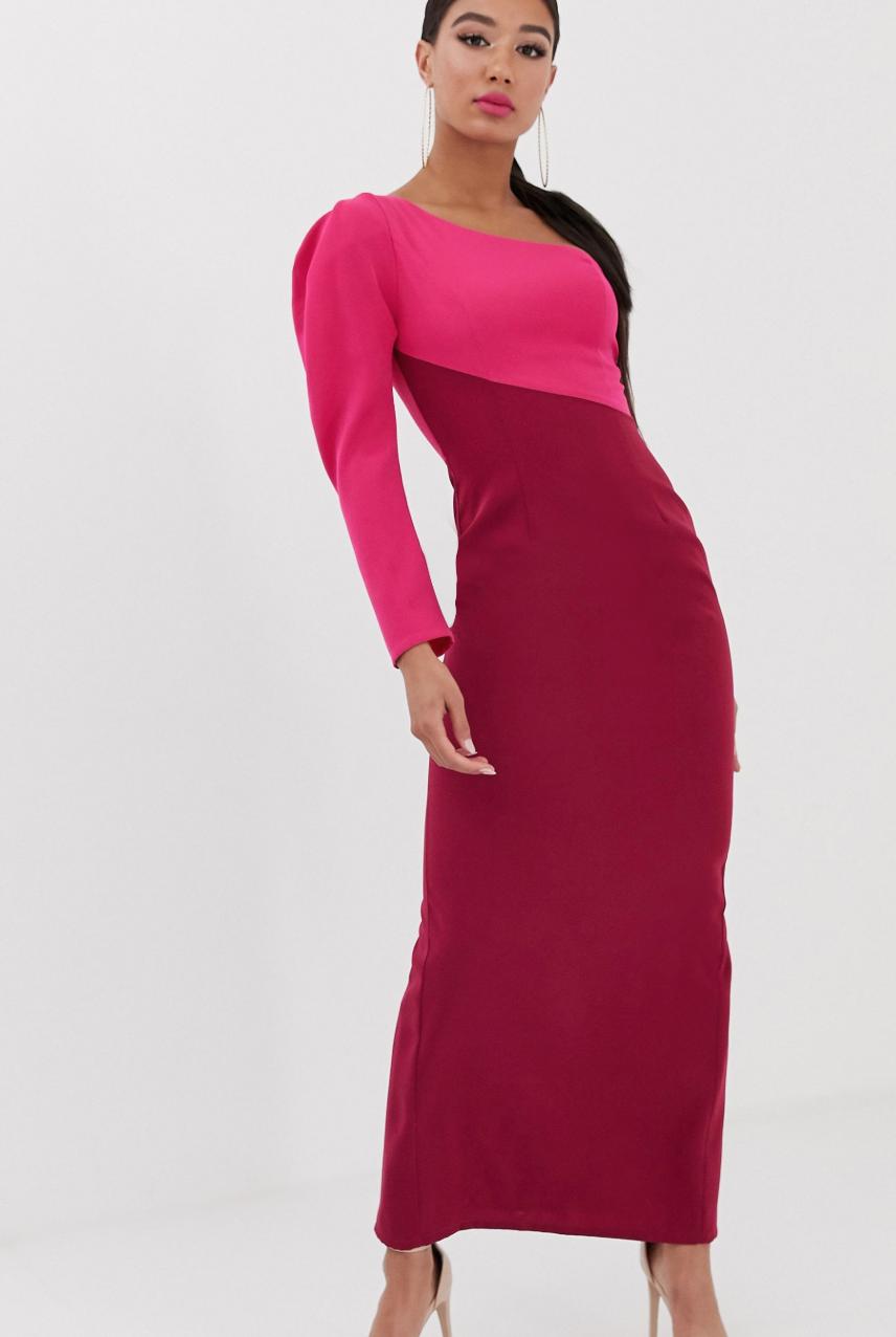 Vestido largo asimétrico con diseño en contraste multicolor de Yaura