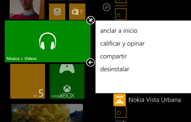 Pantalla de inicio Windows Phone