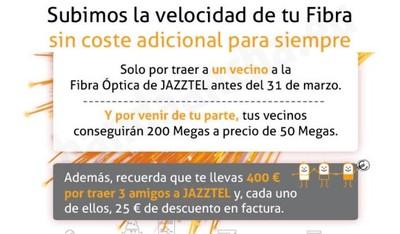 Jazztel lanza su Plan Vecino, con 200 Mbps a precio de 50 Mbps por captar un vecino