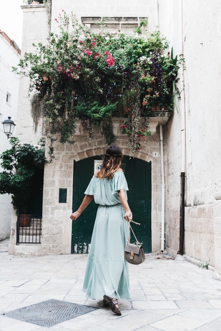 Polignano A Mare Guerlain Beauty Road Trip Long Dress Chole Bag Outfit Street Style Italy 2 790x1185