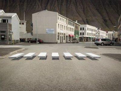 En Islandia ya han estrenado estos pasos de peatones en 3D que parecen flotar sobre el asfalto... ¡y molan!