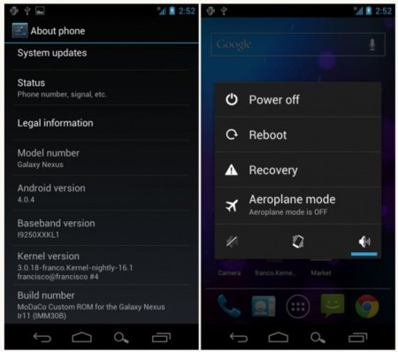 Disponible ya la primera ROM 4.0.4 para el Galaxy Nexus europeo