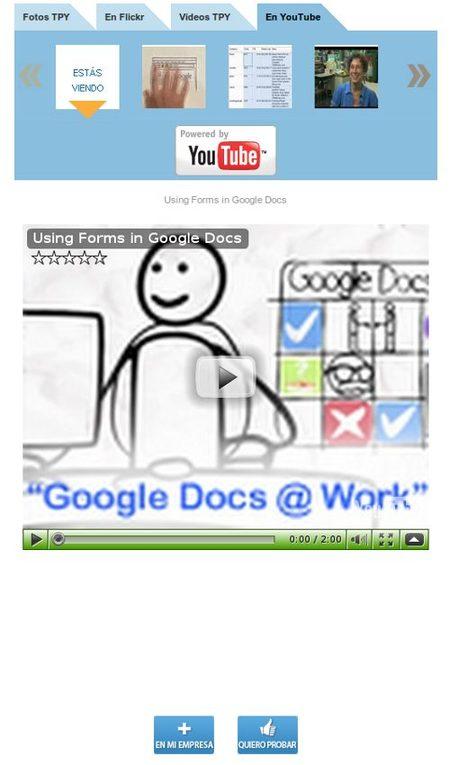 Página producto Google Docs