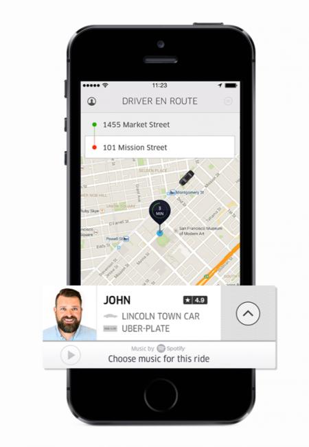 Con Uber, además del destino, podrás escoger la música que quieres escuchar en Spotify