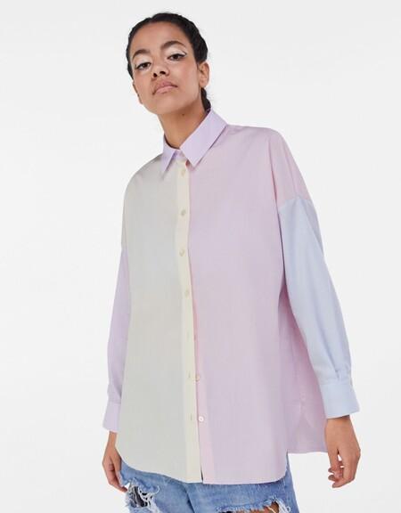 Bershka Color Block Camisa 01