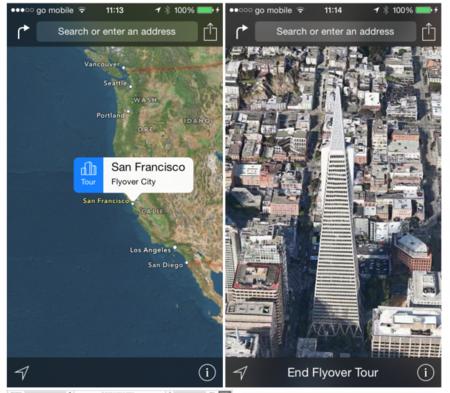 Cómo acceder a Flyover City Tours en los mapas de iOS 8