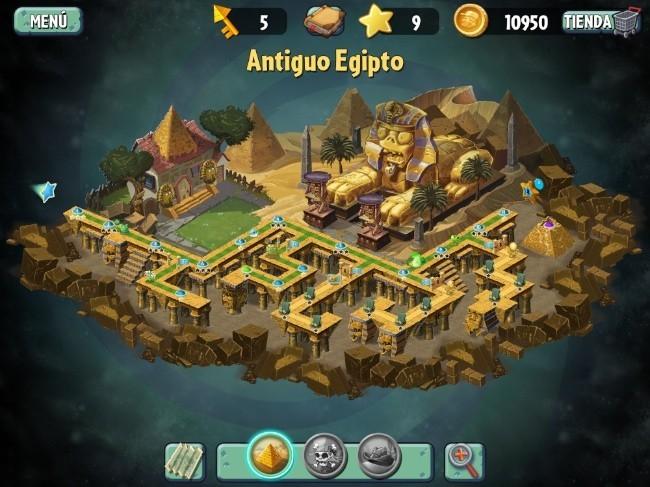 El antiguo Egipto es una de las tres grandes zonas del juego. Cada nivel se puede repetir hasta cuatro veces con nuevos objetivos en cada ocasión.