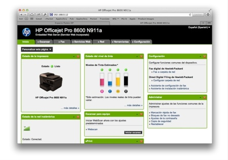 Web server HP Officejet Pro 8600
