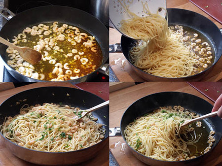 elaboración espaguetis con gambas al pilpil