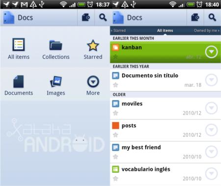 Al fin disponible la aplicación de Google Docs en el Android Market
