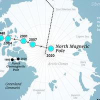 El polo norte magnético se está moviendo más rápido que nunca. Este mapa muestra su trayectoria