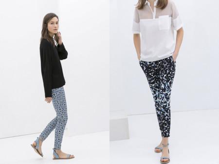 Tendencias low-cost Primavera-Verano 2014 pantalones estampados geométricos azul Zara