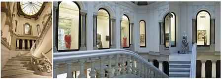 Instalación efímera de vestidos de Couture Escada entre las obras de arte de la Fundación Francisco Godia