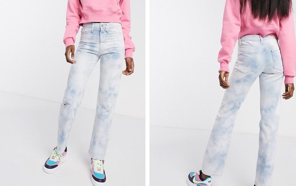 Jeans de tiro medio con estampado tie-dye
