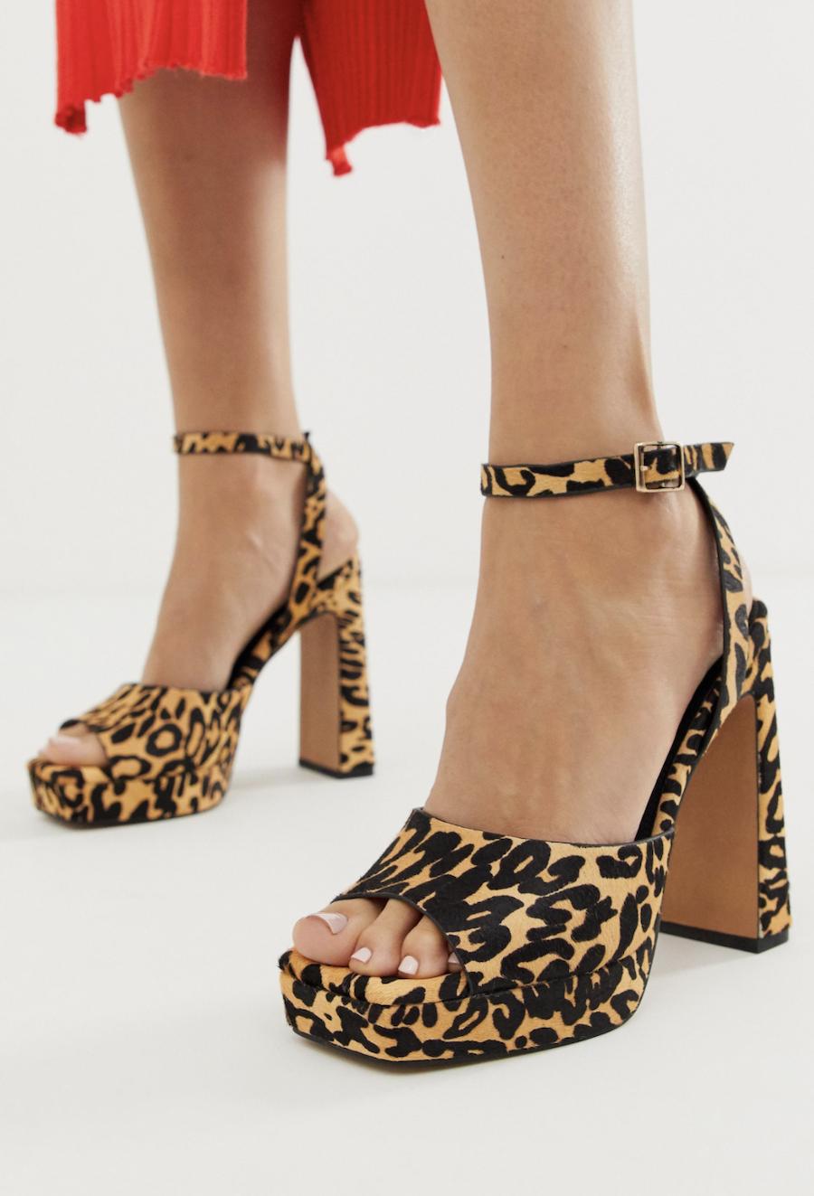 Sandalias de cuero de tacón grueso con estampado de leopardo y plataforma Habitat de ASOS DESIGN
