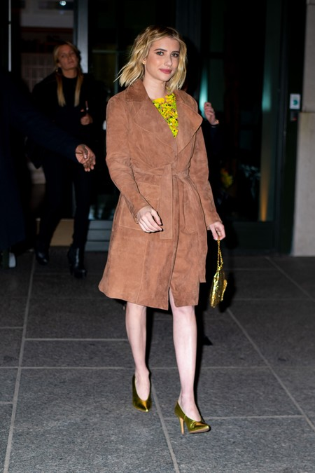 Emma Roberts Wears Mango Coat In Ny