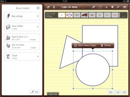 reconocimiento de formas en Notes Plus