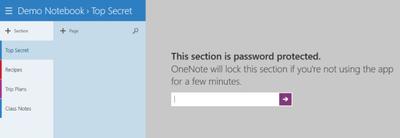OneNote Modern UI se actualiza para dar soporte a notas con contraseña