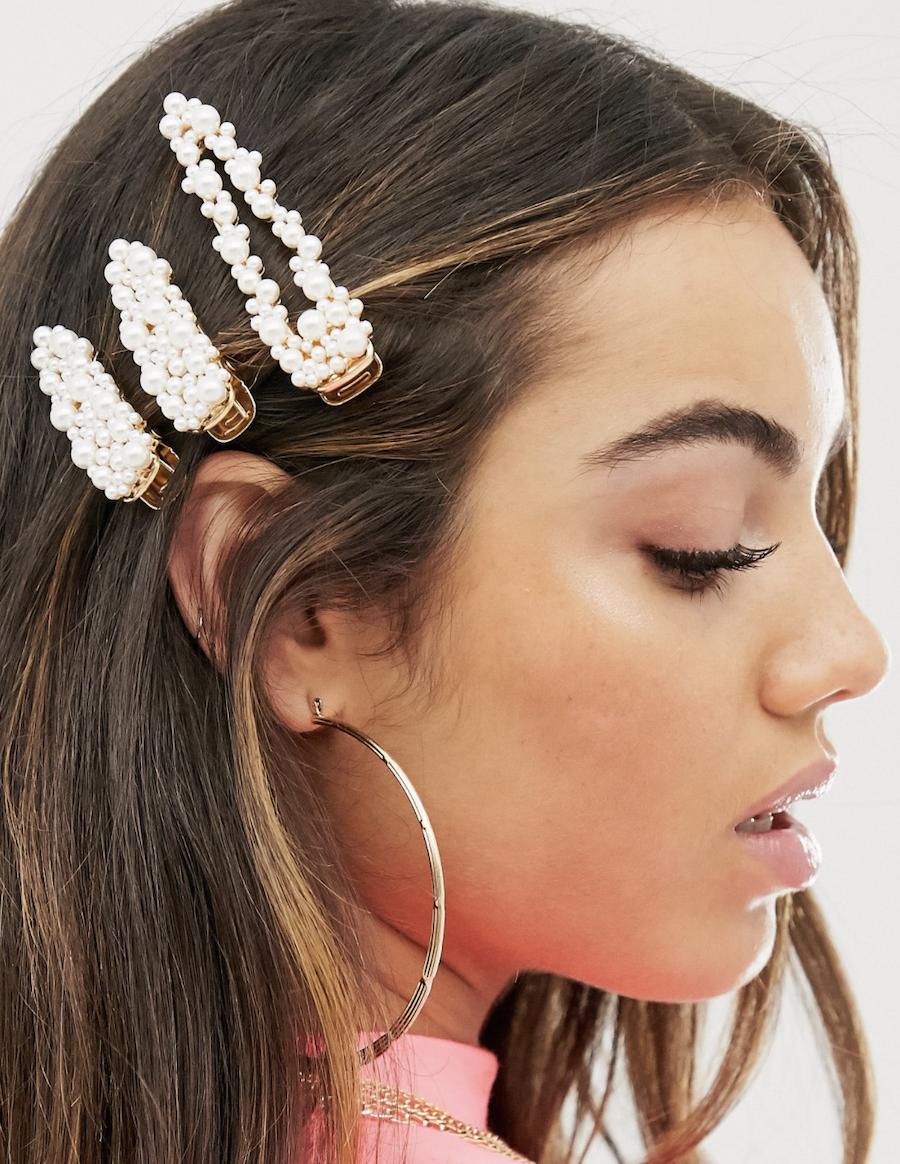 Pack de 3 pasadores para el pelo en tono dorado con adorno de perlas de ASOS DESIGN