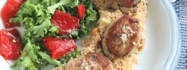 Solomillo de cerdo con cuscús y escarola, un plato ligero y completo