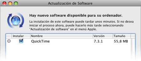 Actualización de software: Quicktime 7.3.1