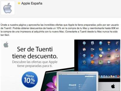 Si tienes tuenti tienes un 10% de descuento en productos Apple