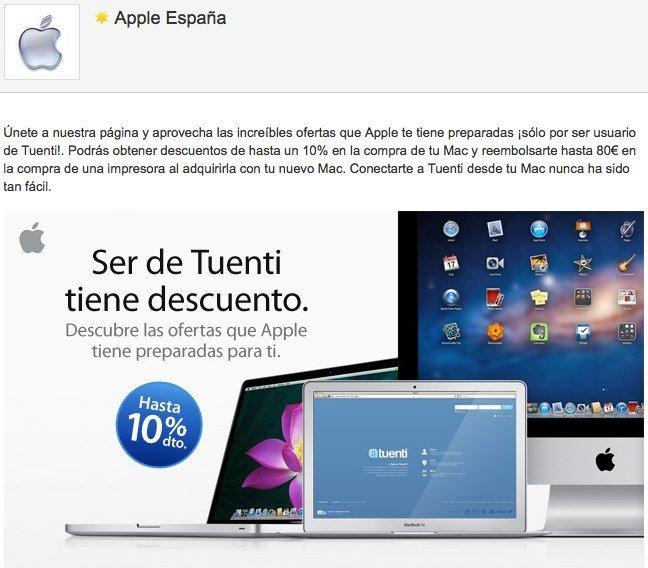 Promoción para usuarios de tuenti en Apple España