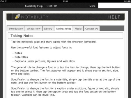 Instrucciones de Notability